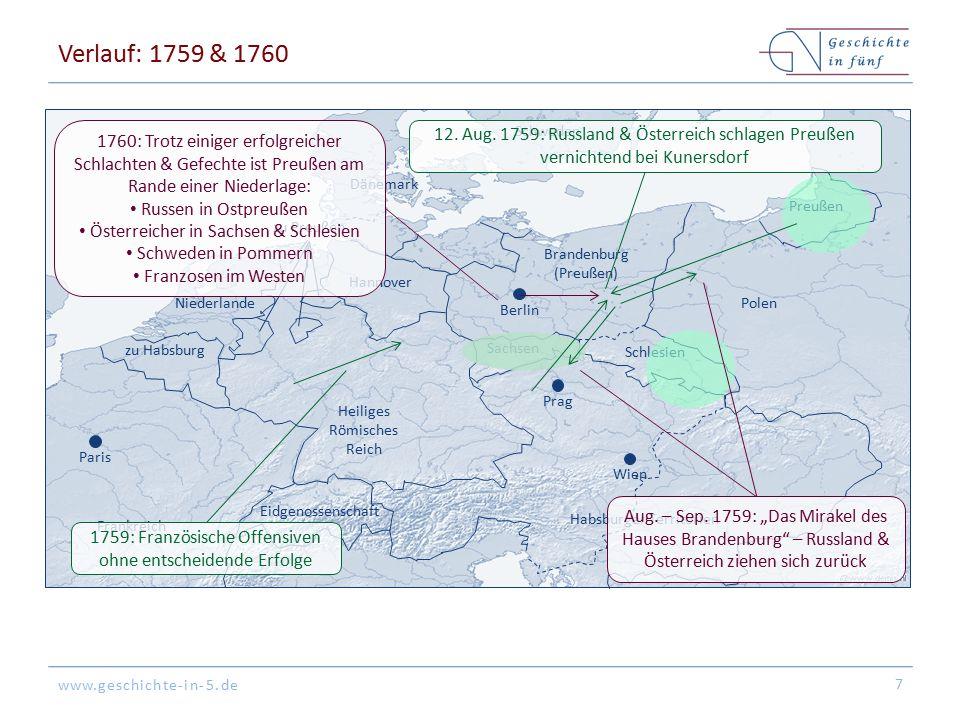 Verlauf: 1759 & 1760 Wien. Paris. Dänemark. Frankreich. zu Habsburg. Schweden. Niederlande. Preußen.