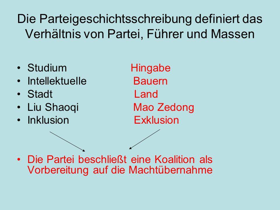 Die Parteigeschichtsschreibung definiert das Verhältnis von Partei, Führer und Massen