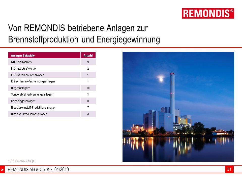 Von REMONDIS betriebene Anlagen zur Brennstoffproduktion und Energiegewinnung