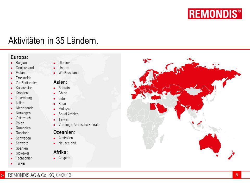 Aktivitäten in 35 Ländern.