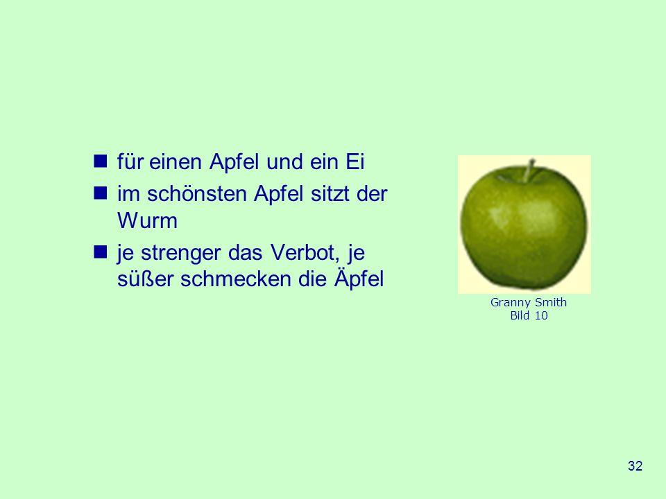 für einen Apfel und ein Ei im schönsten Apfel sitzt der Wurm