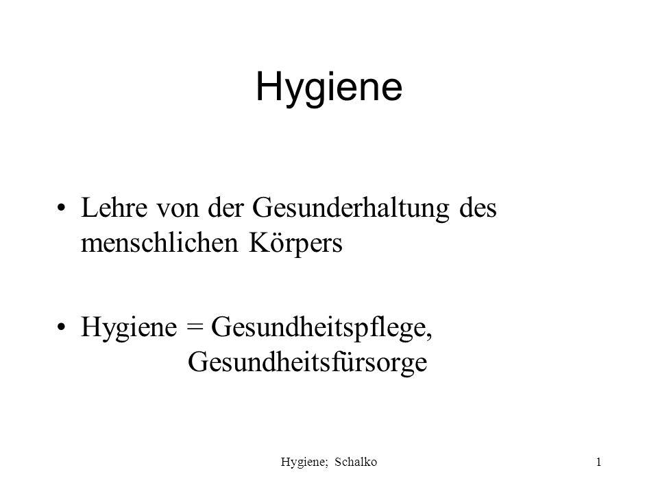 Hygiene Lehre von der Gesunderhaltung des menschlichen Körpers