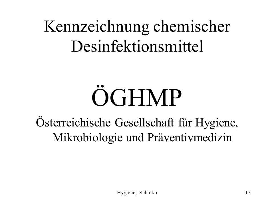 Kennzeichnung chemischer Desinfektionsmittel