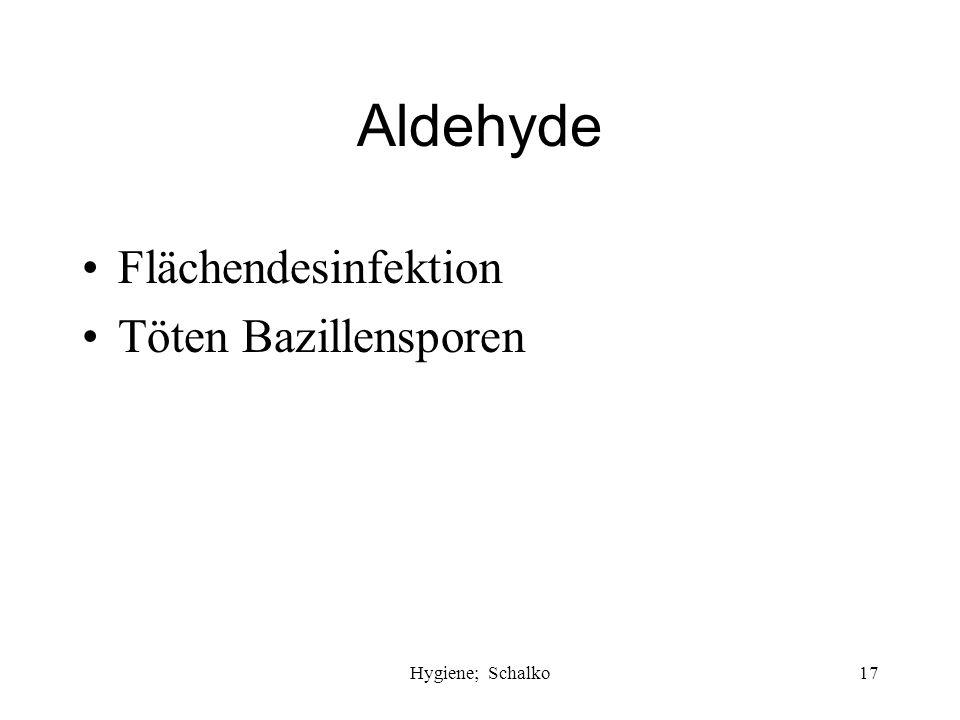 Aldehyde Flächendesinfektion Töten Bazillensporen Hygiene; Schalko