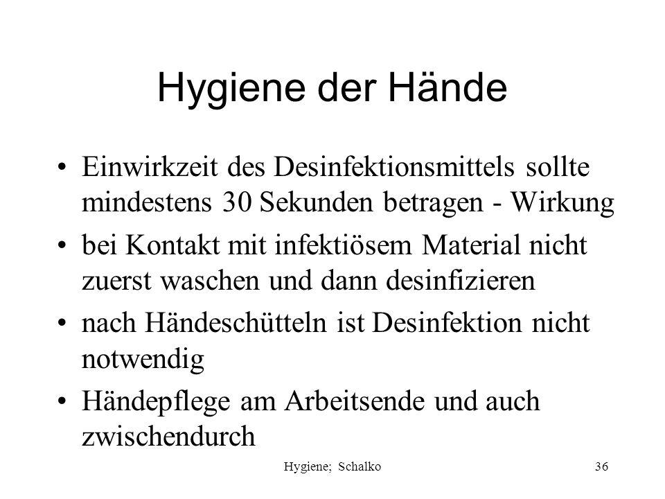 Hygiene der Hände Einwirkzeit des Desinfektionsmittels sollte mindestens 30 Sekunden betragen - Wirkung.