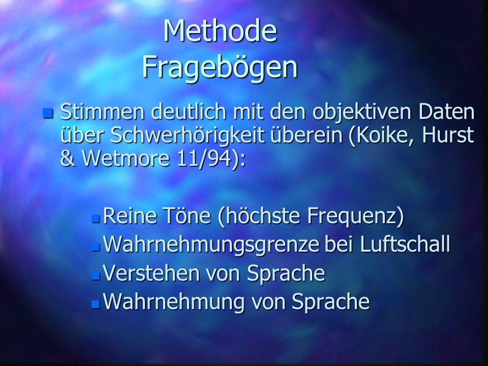 Methode FragebögenStimmen deutlich mit den objektiven Daten über Schwerhörigkeit überein (Koike, Hurst & Wetmore 11/94):