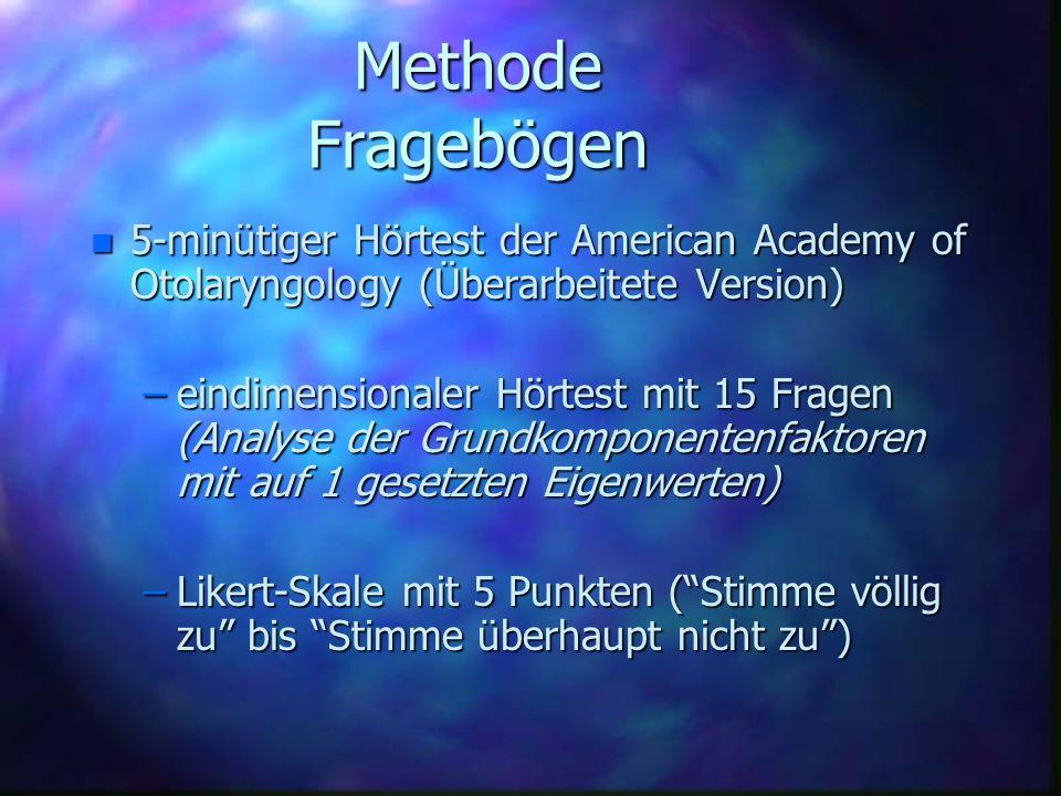 Methode Fragebögen5-minütiger Hörtest der American Academy of Otolaryngology (Überarbeitete Version)
