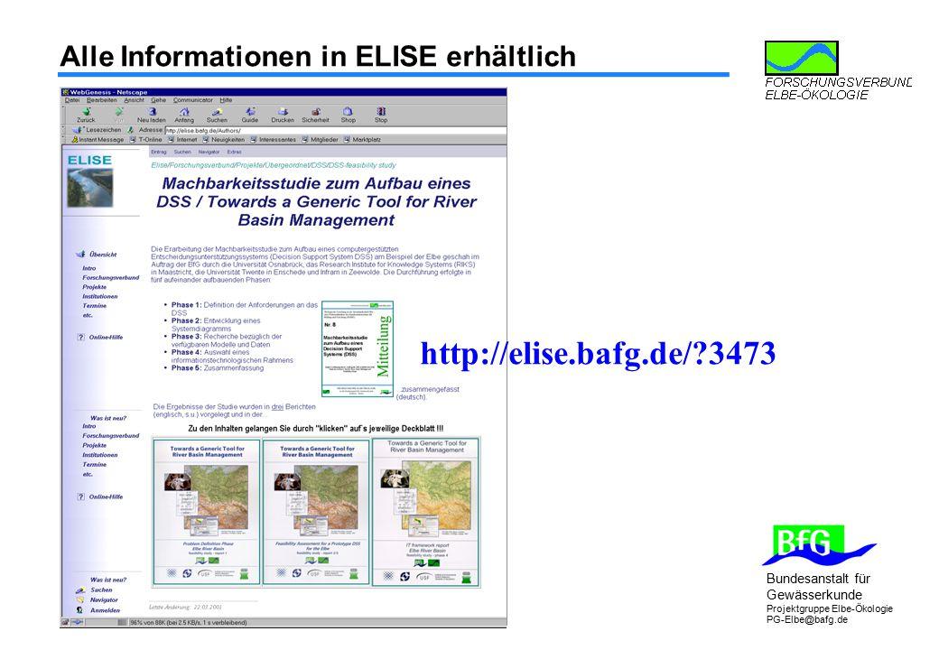 Alle Informationen in ELISE erhältlich