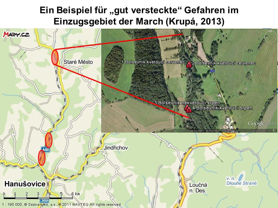 """Ein Beispiel für """"gut versteckte Gefahren im Einzugsgebiet der March (Krupá, 2013)"""