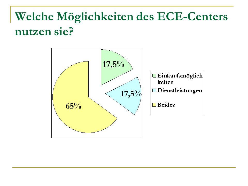 Welche Möglichkeiten des ECE-Centers nutzen sie