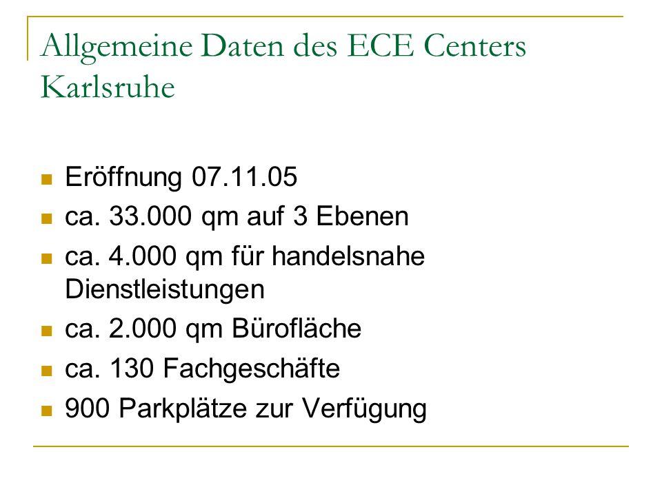 Allgemeine Daten des ECE Centers Karlsruhe