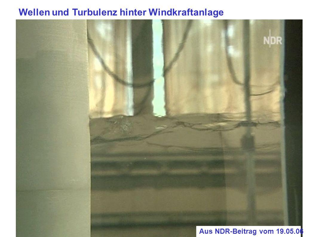 Wellen und Turbulenz hinter Windkraftanlage