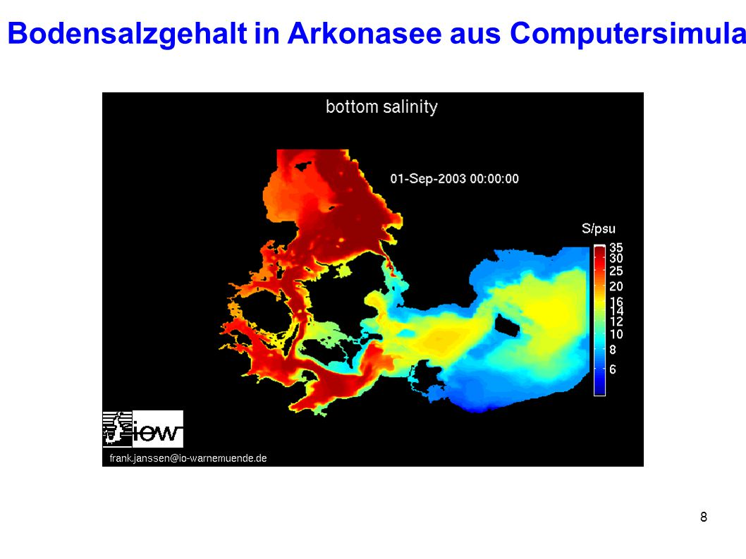 Bodensalzgehalt in Arkonasee aus Computersimulation