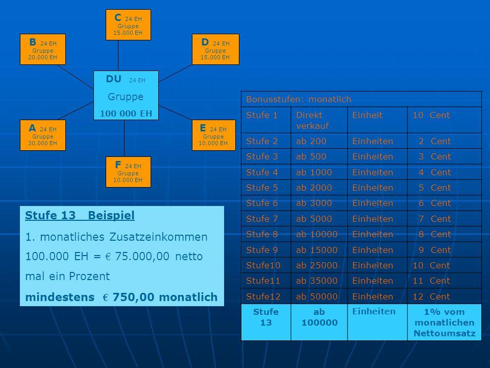 1. monatliches Zusatzeinkommen 100.000 EH = € 75.000,00 netto