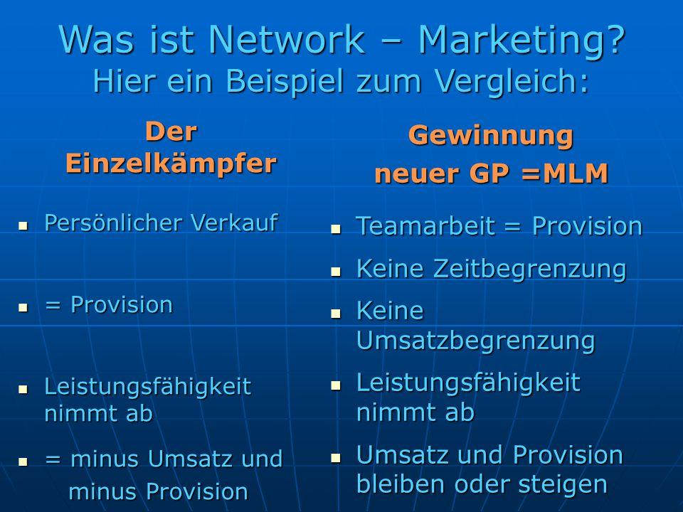 Was ist Network – Marketing Hier ein Beispiel zum Vergleich: