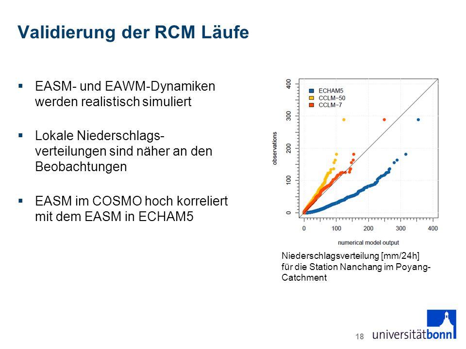 Validierung der RCM Läufe