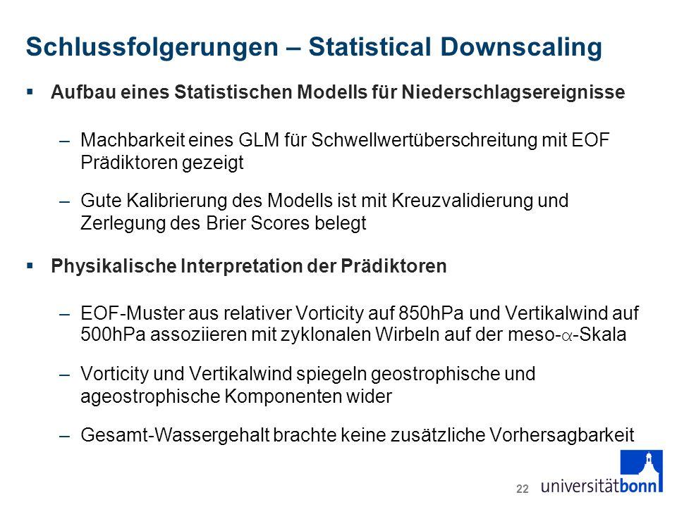 Schlussfolgerungen – Statistical Downscaling