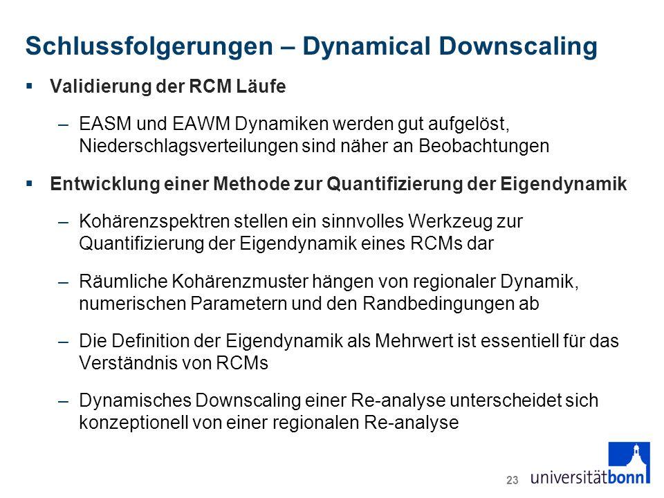 Schlussfolgerungen – Dynamical Downscaling