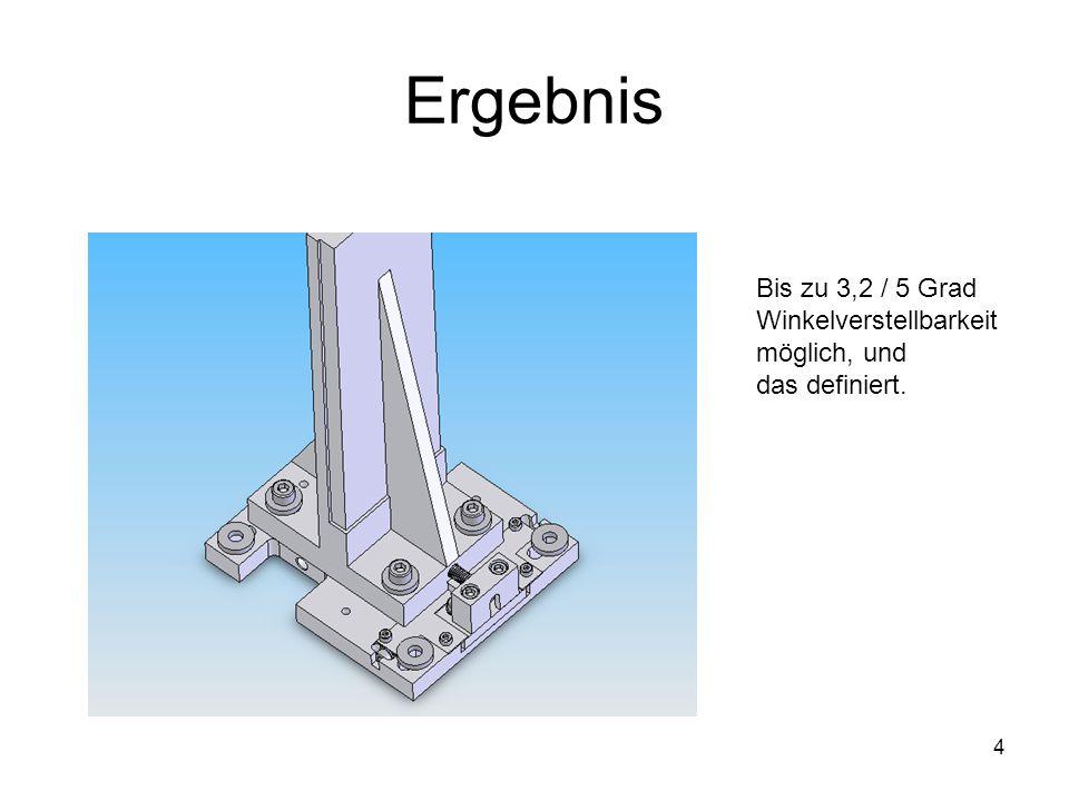 Ergebnis Bis zu 3,2 / 5 Grad Winkelverstellbarkeit möglich, und
