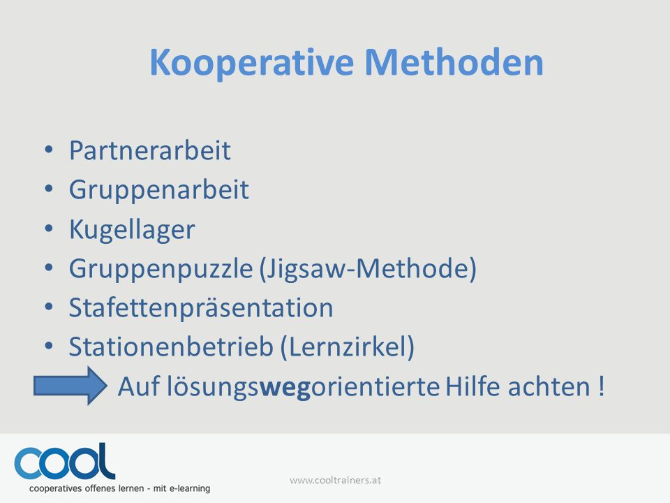 Kooperative Methoden Partnerarbeit Gruppenarbeit Kugellager