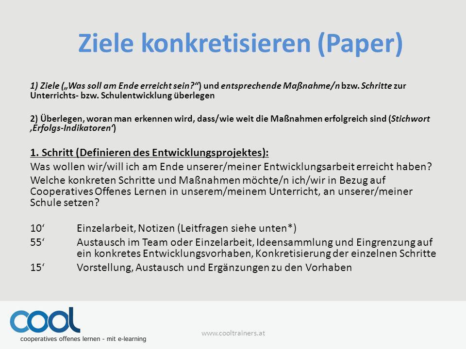 Ziele konkretisieren (Paper)