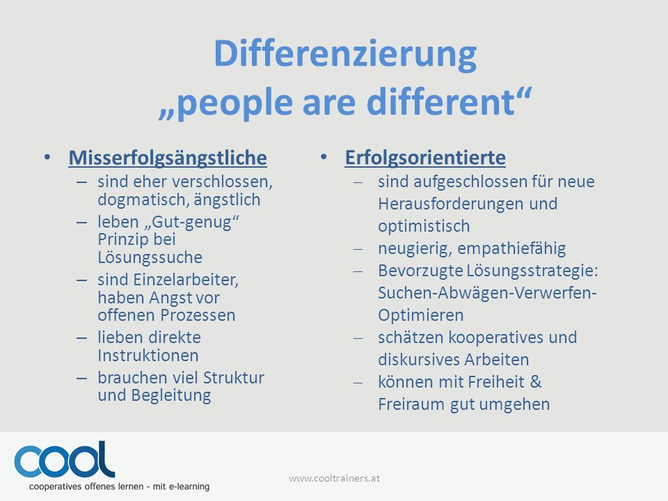"Differenzierung ""people are different"