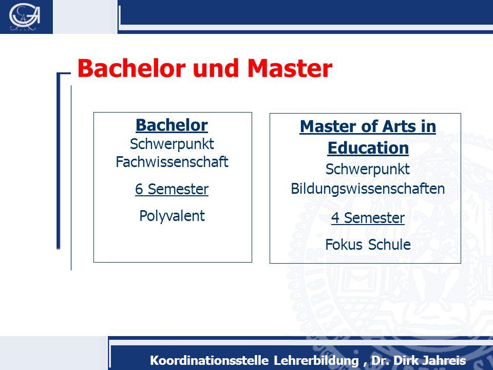 Bachelor und Master Bachelor Schwerpunkt Fachwissenschaft