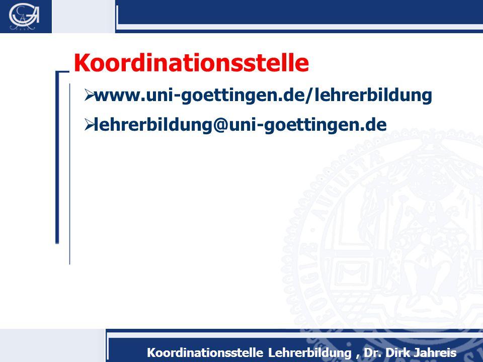 Koordinationsstelle www.uni-goettingen.de/lehrerbildung