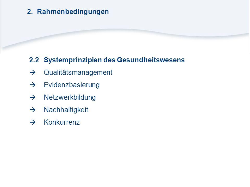 2. Rahmenbedingungen 2.2 Systemprinzipien des Gesundheitswesens.  Qualitätsmanagement.  Evidenzbasierung.