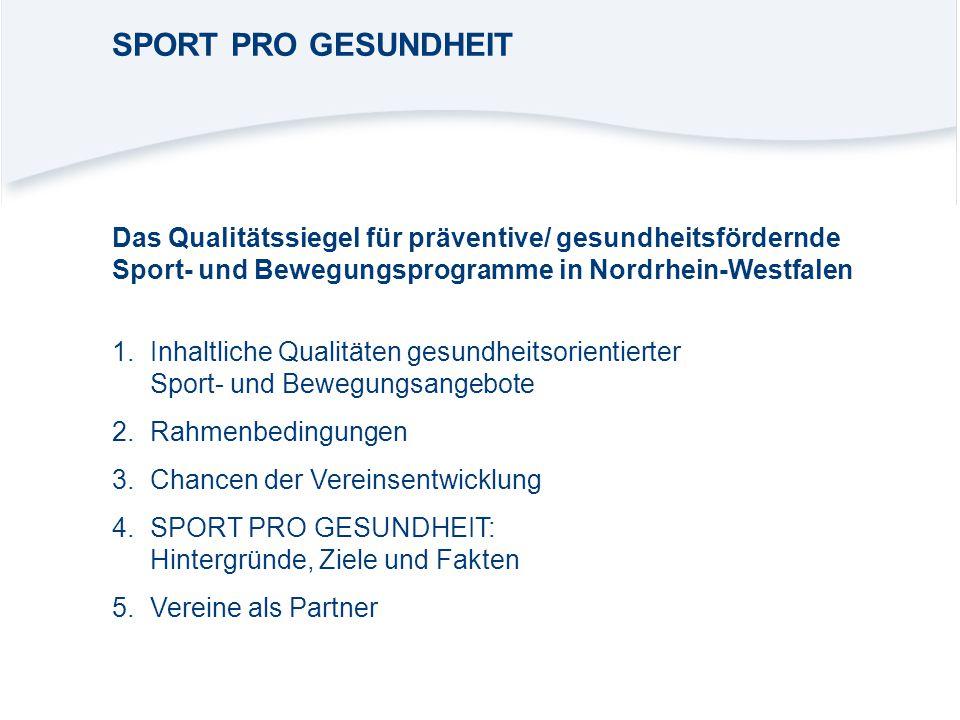 SPORT PRO GESUNDHEIT Das Qualitätssiegel für präventive/ gesundheitsfördernde Sport- und Bewegungsprogramme in Nordrhein-Westfalen.