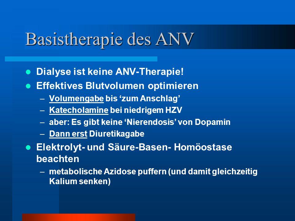 Basistherapie des ANV Dialyse ist keine ANV-Therapie!