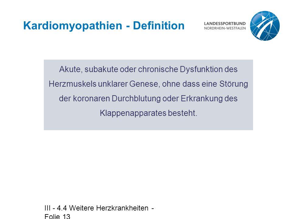 Kardiomyopathien - Definition