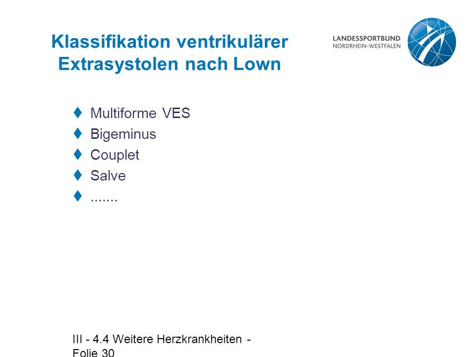 Klassifikation ventrikulärer Extrasystolen nach Lown