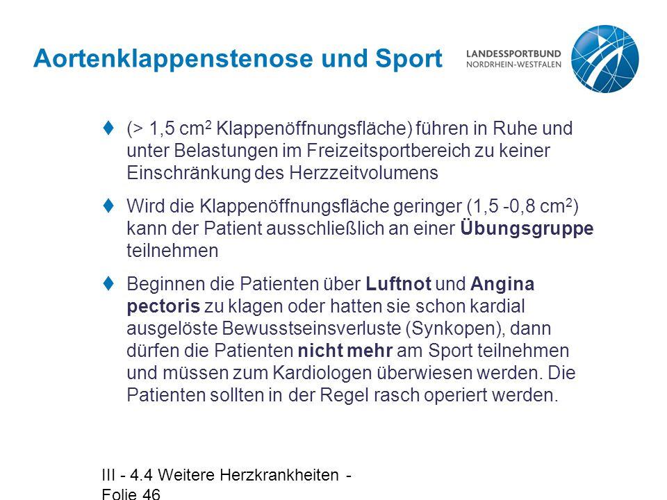 Aortenklappenstenose und Sport