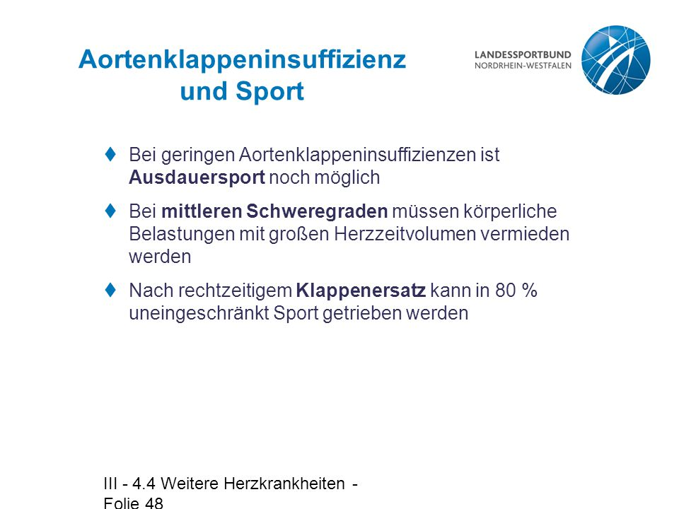 Aortenklappeninsuffizienz und Sport