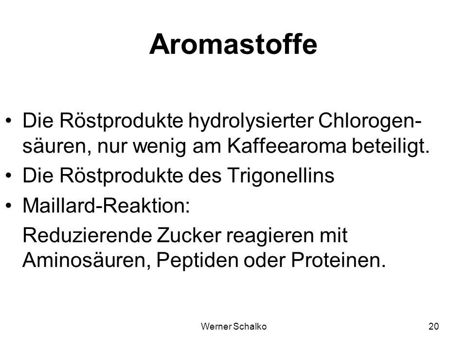 Aromastoffe Die Röstprodukte hydrolysierter Chlorogen-säuren, nur wenig am Kaffeearoma beteiligt. Die Röstprodukte des Trigonellins.