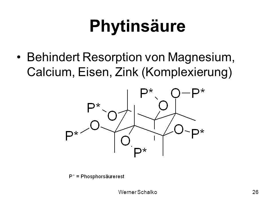 Phytinsäure Behindert Resorption von Magnesium, Calcium, Eisen, Zink (Komplexierung) Werner Schalko