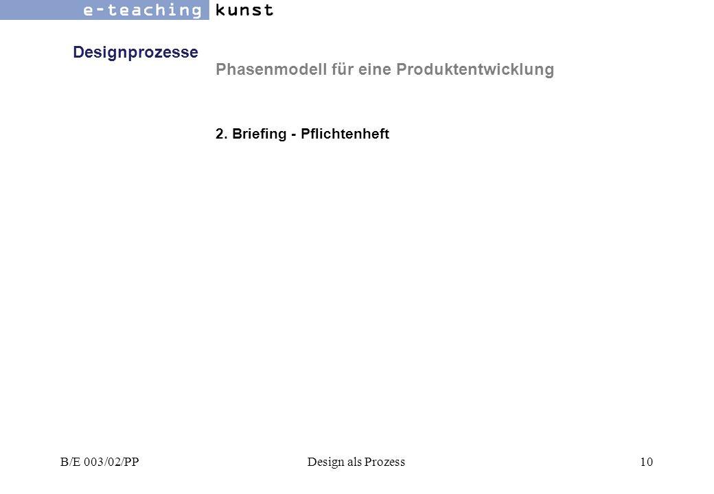 Phasenmodell für eine Produktentwicklung