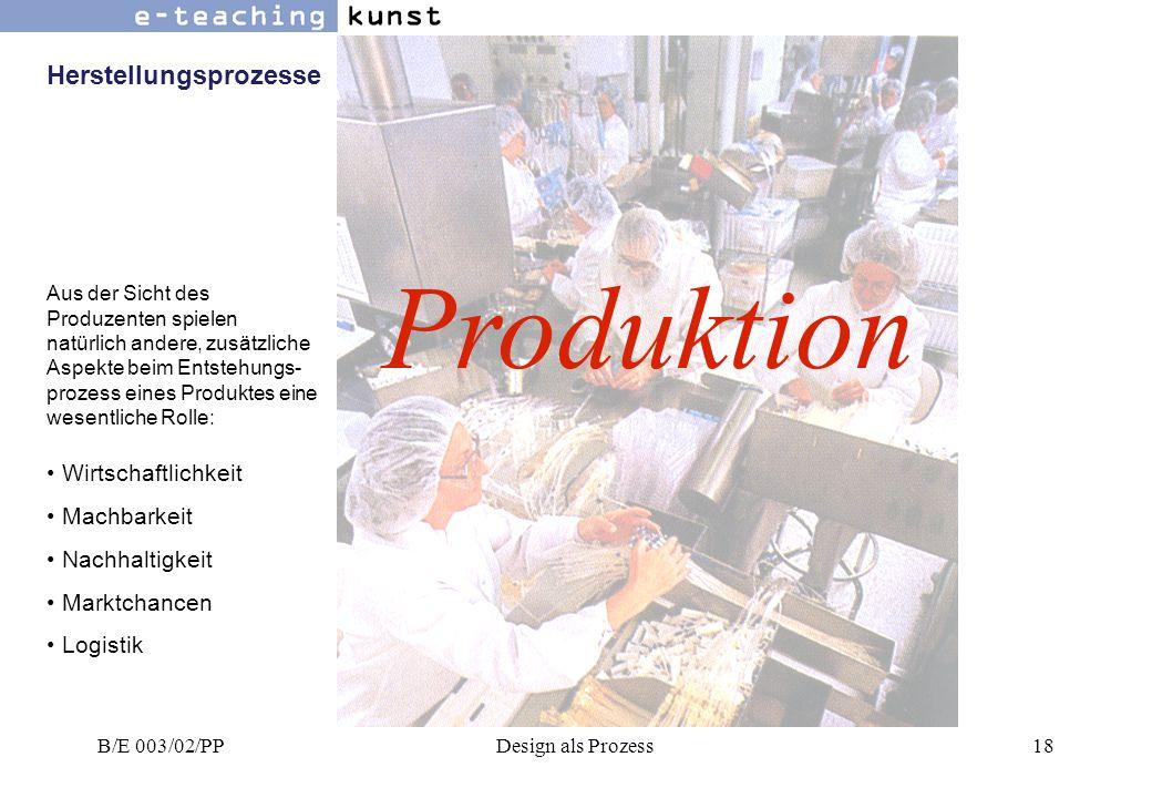 Produktion Herstellungsprozesse Wirtschaftlichkeit Machbarkeit