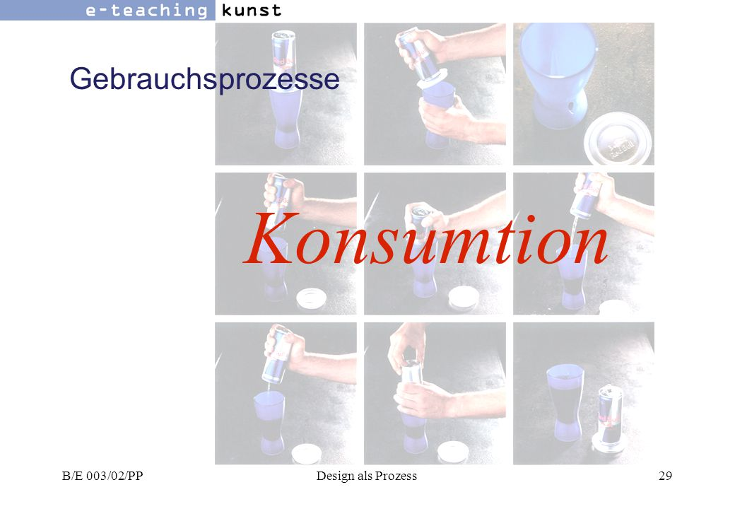 Gebrauchsprozesse Konsumtion B/E 003/02/PP Design als Prozess
