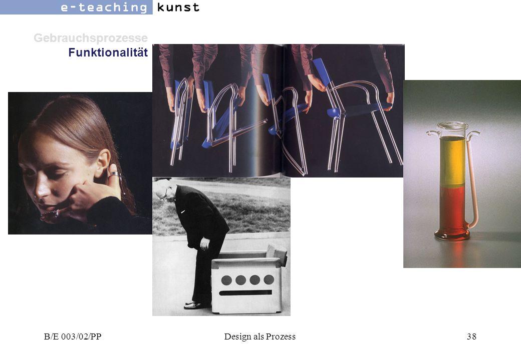 Gebrauchsprozesse Funktionalität B/E 003/02/PP Design als Prozess