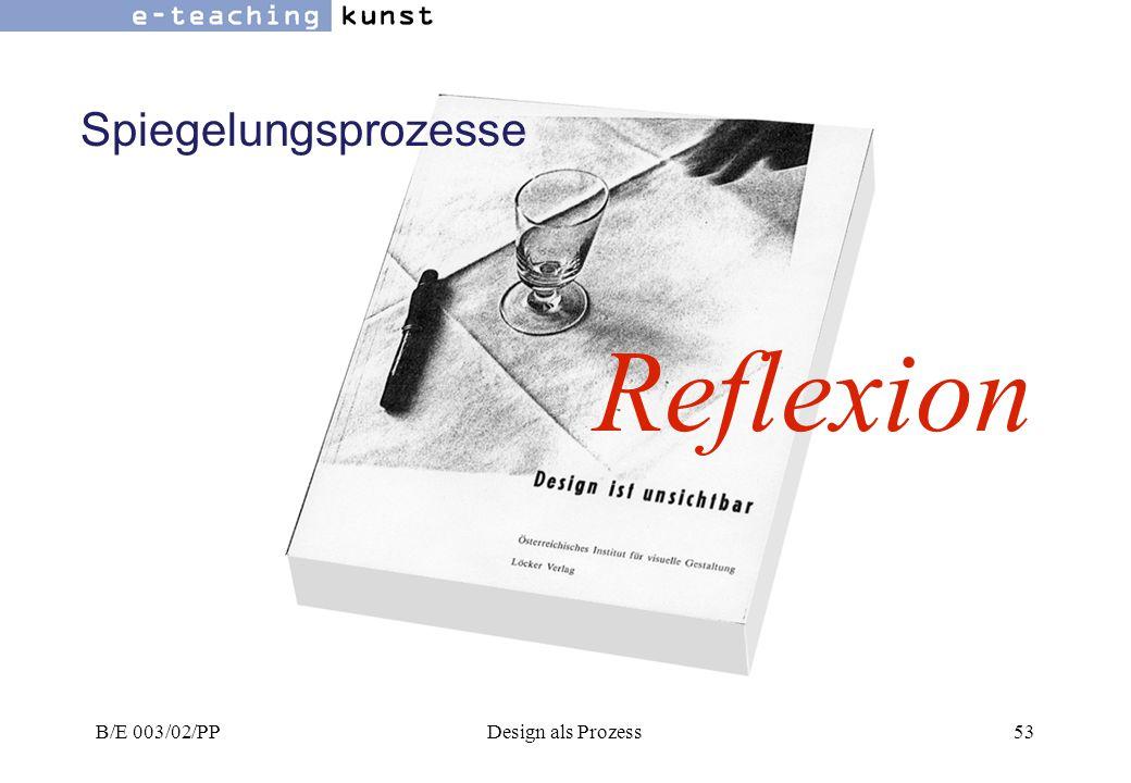 Spiegelungsprozesse Reflexion B/E 003/02/PP Design als Prozess