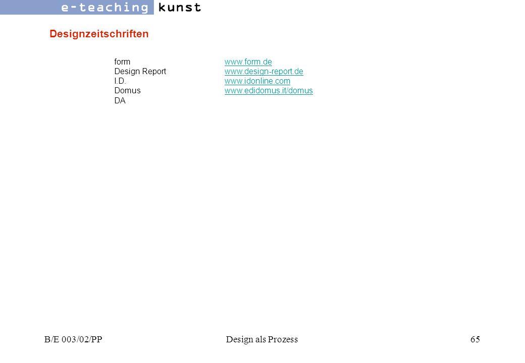 Designzeitschriften B/E 003/02/PP Design als Prozess form www.form.de