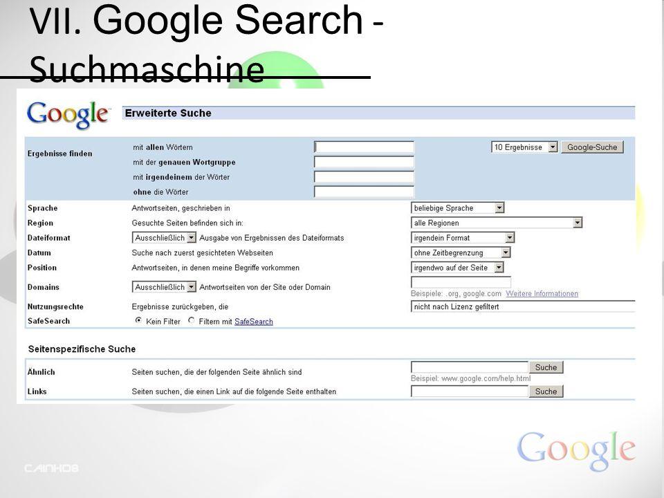 VII. Google Search - Suchmaschine