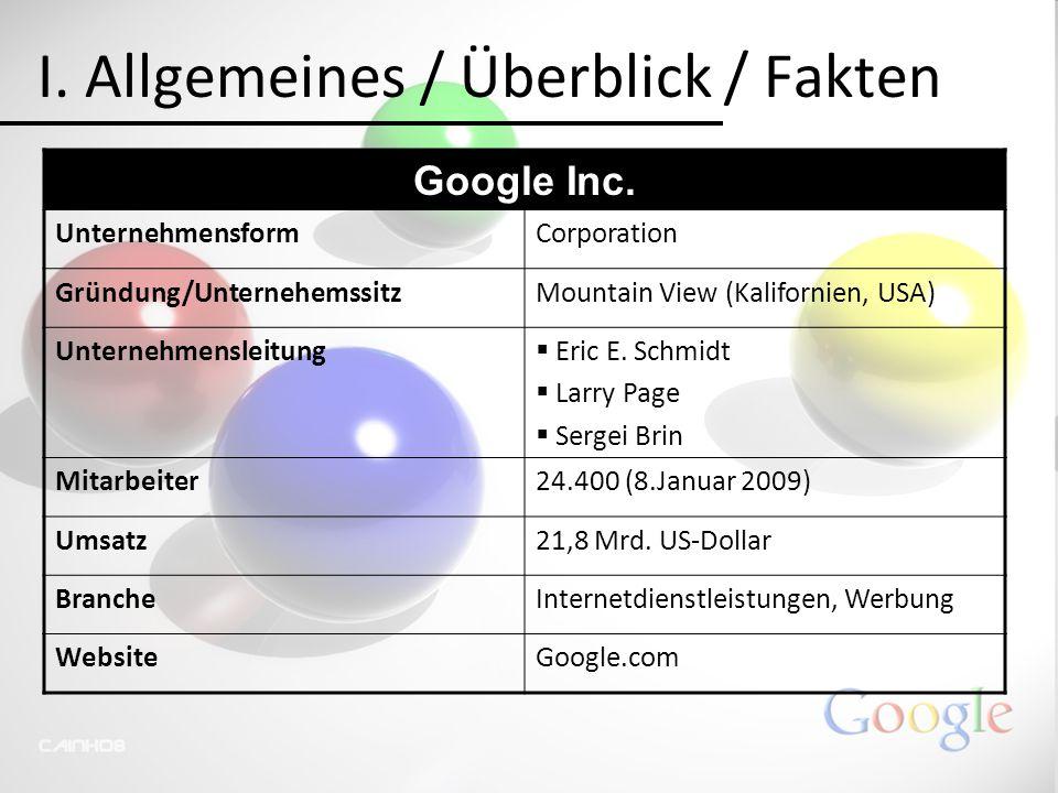 I. Allgemeines / Überblick / Fakten