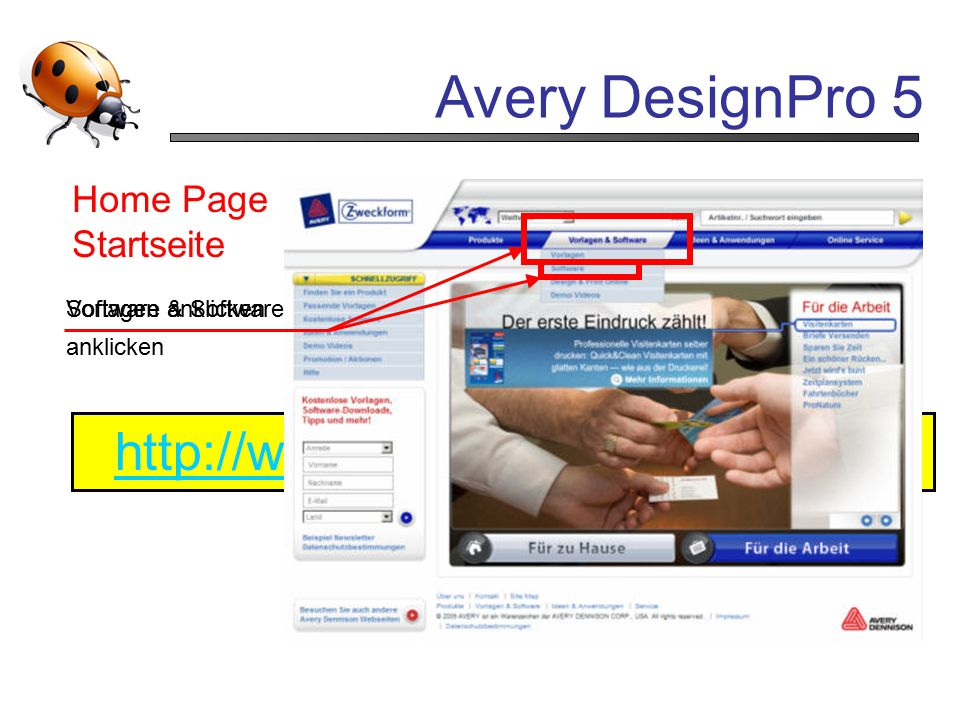 Avery DesignPro 5 http://www.avery-zweckform.com Home Page Startseite