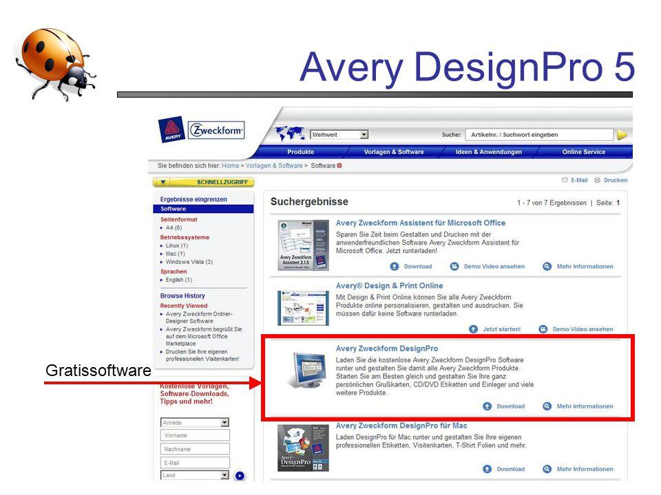 Avery DesignPro 5 Gratissoftware
