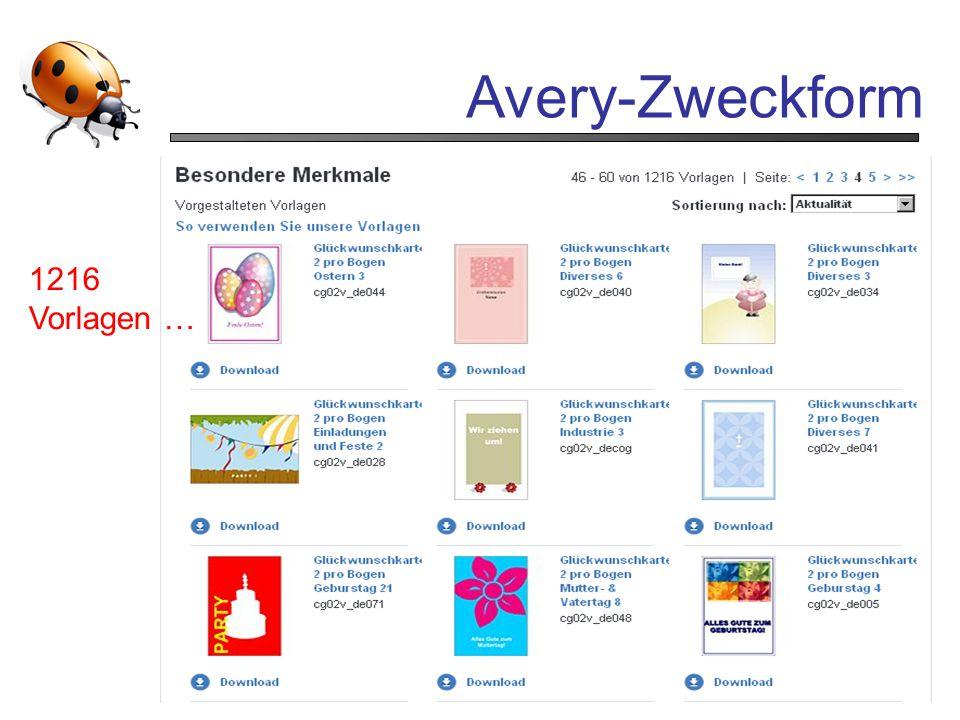 Avery-Zweckform 1216 Vorlagen …
