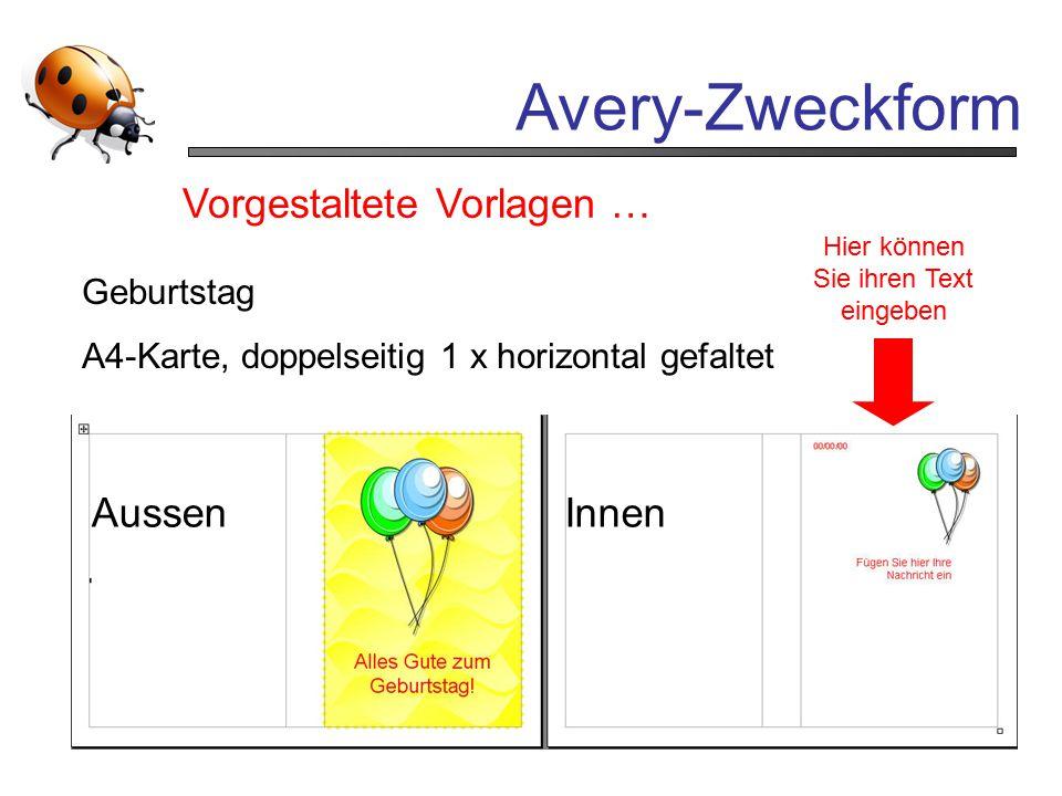 Avery-Zweckform Vorgestaltete Vorlagen … Aussen Innen Geburtstag