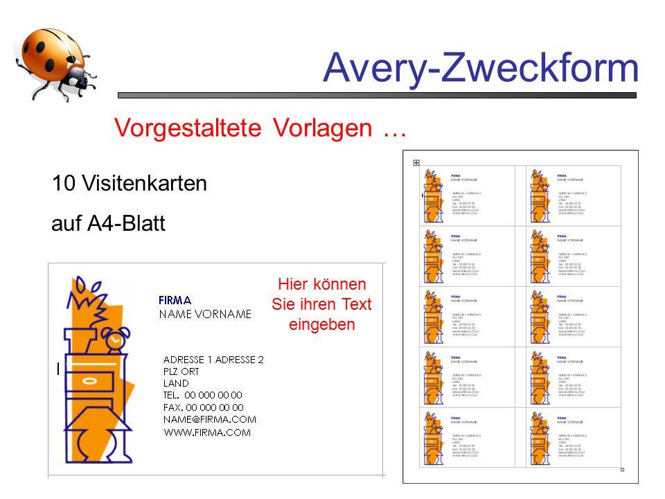Avery-Zweckform Vorgestaltete Vorlagen … 10 Visitenkarten auf A4-Blatt